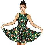 Jescakoo Cute Christmas Tree Print Tank Dress Sleeveless Pleated Skater Skirt Costume
