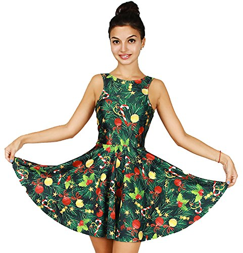Womens Christmas Tree Costume (Jescakoo Cute Christmas Tree Print Tank Dress Sleeveless Pleated Skater Skirt)