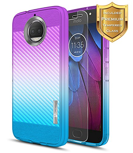 Moto G5S Plus Case, Moto G5S+ Case with [Tempered Glass Screen Protector], NageBee [Frost Clear] [Carbon Fiber] Premium Slim Protective Rubber Case for Motorola G5S+ /G5S Plus XT1806 -Purple/Blue