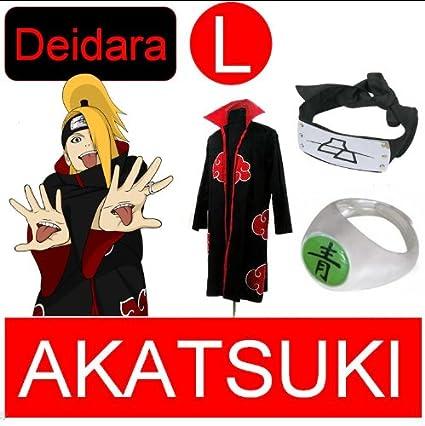 Naruto cosplay traje Set para Deidara - Akatsuki Capa + ...