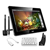 Ugee 15.6 Inches HK1560 IPS Graphics Monitor Drawing Display Interactive Pen Tablet with Mechanical Gaming Keyboard+mini DisplayPort to HDMI Cable +Parblo Two-Finger Glove+2x Pen +1 Screen Protector