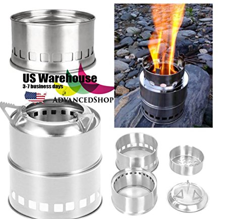 Portable Mini Camping Stove Stainless Steel Wood Burner Furnace Cooker [US Warehouse] by AdvancedSho by AdvancedShop