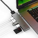 #5: CERTIFIED USB-C Hub CharJenPro PREMIUM MacBar Adapter / Hub for Apple Macbook Pro 2016 / 2017 - 40GB/S Thunderbolt 3 port 5K@60Hz, USB-C data, 2 USB 3.0, SD and Micro SD Card Readers (Space Gray)