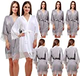 GoldOath New Handmade Robes Set Of 8 Women's Cotton Kimono Robes Wedding Party Gifts For Bride and Bridesmaid With Lace Trim