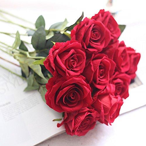 Crt Gucy Artificial Flowers Long Stem Silk Rose Flower Bouquet Wedding Party Home Decor, Pack of 6 ()
