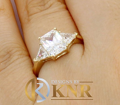 (14k Solid Yellow Gold Radiant and Trillion Cut Simulated Diamond Engagement Ring Bridal, Wedding, Anniversary, Prong Set Promise 2.50ctw)