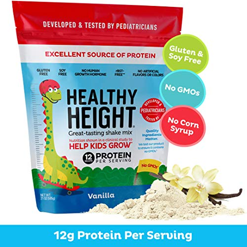 Healthy Height Kids Protein Powder (Vanilla) - Developed By Schneiders Childrens Hospital To Help Children Grow. Nutritional Shake w/ 12 Grams of Protein, No Corn Syrup, No GMOs, No Soy, Gluten-Free