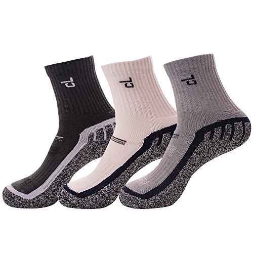 3足セット 靴下 メンズ 綿麻混 冷え取り パイル編み 中厚手 ソックス 24~27.5cm