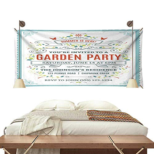 BlountDecor Simple Tapestry Garden Party Invitation 80W x 60L Inch ()
