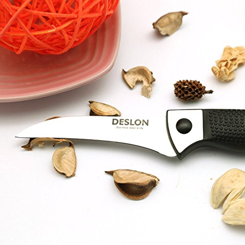 DESLON Birds Beak Paring Knife, High Carbon Steel Peeling Carving Cutting Sharp Knives for Vegetables and Fruit 3.66""