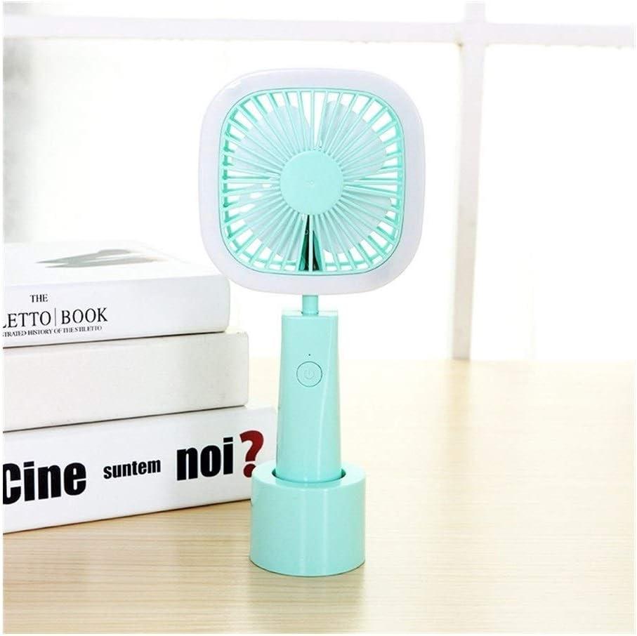 Color : Green Air Cooler Stylish Simple USB Charging Fan Handheld Fan Led Light 3 Gear Wind Computer Car Mini Fan
