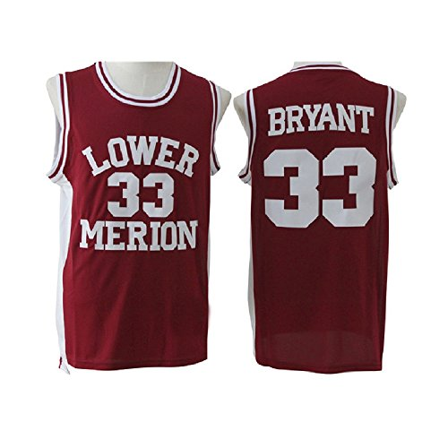 qlesseots Men's Kobe Jerseys High School 33 Basketball Jersey Red