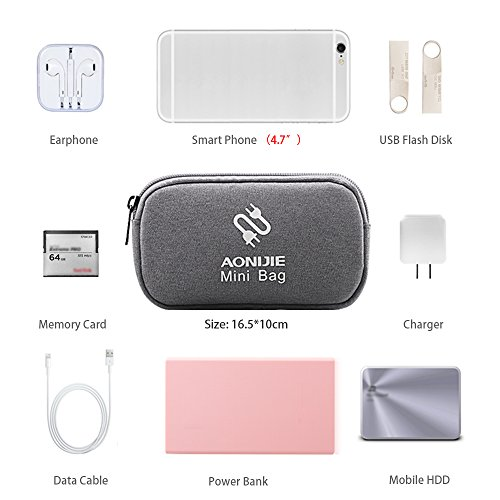 Lixada AONIJIE Multifunctional Bolsa de Viaje de Almacenamiento Digital Bolsa de Poder Bolsillos Monedero para iPhone 6 Color de rosa rojo