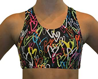 GemGear Neon Hearts Print Raser Sports Bra, M11 (Neon Hearts Print) Extra Small
