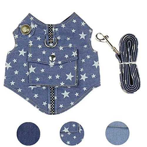 XAMAWA Pet Clothes Dog Jeans Jacket Vest Harness with Leash Ring for Outdoor Walking-Star