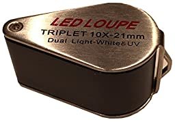 Micro View 10xTriplet LED Jeweler\'s Loupe with UV Light