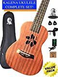 Kalena Factory Direct Ukulele with instruction book, strap, tuner, extra strings, felt picks, complete set for all ages (24'' Concert Hibiscus, Moonlight Sapele)