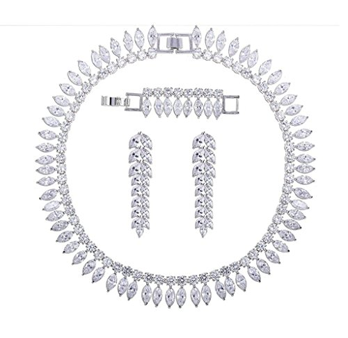 Aooaz Bijoux Femmes Alliage Bijoux Parures Feuilles Délicat Femmes Bijoux Parures Mariage Blanc