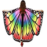 2017 New Womens Halloween Butterfly Wings Shawl Cape Scarf Fairy Poncho Shawl Wrap Costume Accessory (Multicolor)