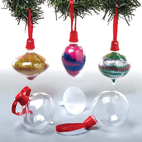Baker Ross Christmas Baubles Sand Art Bottles (Pack of 5) for Kids to Decorate and Hang on Christmas Tree (Sand Art Christmas)