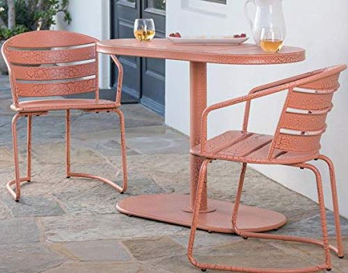 Luca Outdoor- Sunroom Furniture- Out Door Patio Furniture- Crackle Orange Iron Three Piece Oval Set - Great for Summer Barbecues, Garden Parties, and Afternoons Spent Lounging