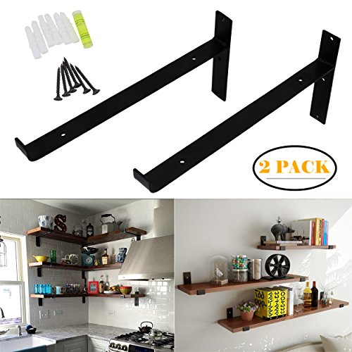 OVOV Pack of 2 Iron Shelf Brackets Decorative Wall Hangers Mounted Floating Shelf Hanging Angle lip (Black) 12