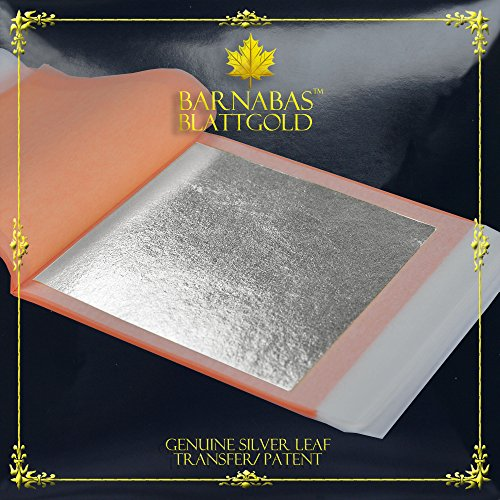 Genuine Silver Leaf Sheets by Barnabas Blattgold, 25 Sheets (Transfer/ Patent), 3-3/4 inches booklet, Professional Quality Sq Leafs