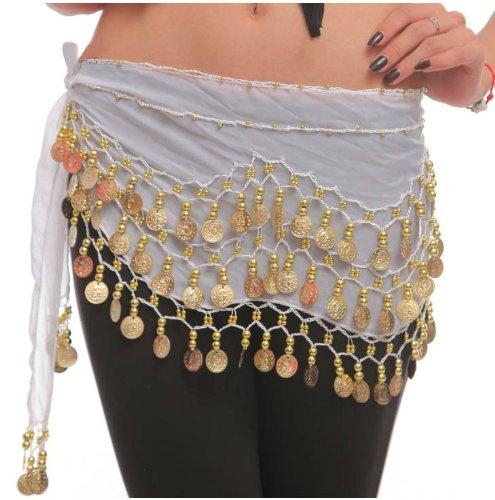 Belly Dance Bauchtanz Hüfttuch Kostüm 128 goldfarbenen Münzen Münzgürtel Gürtel in weiß NEU