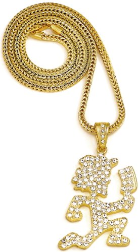 Juggalo Iced Out Pendant 36 Inch Necklace Gold Color Franco Style (Hatchetman Pendant)