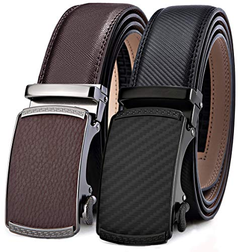 Mens Belt,Bulliant Leather Ratchet Belt for Men Gift Boxed,2 Units Packing,Size Adjustable - Gucci Brown Leather
