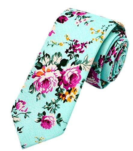 Flower Ties for Men,Mens Ties,Skinny Tie,Floral Printed Cotton Neck Tie Slim (Blue)