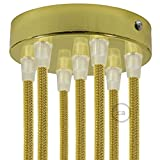 Creative Cables 7 Holes Brass Cylinder Canopy Kit, Bracket, Screws and 7 Cable retainers