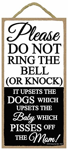Funny Door Signs - Funny Door Signs, Please Do Not Ring The Bell or Knock - 5 x 10 inch Hanging, Wall Art, Do Not Knock Sign