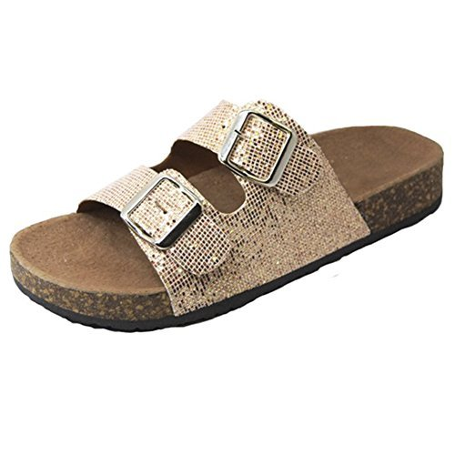 Trends SNJ Women's Glitter Solid Double Strap Cork Sole Slide Sandals (Womens Glitter Sandals)