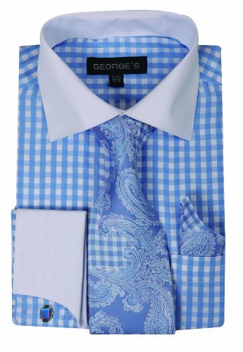 Check Shirt Tie - George's Small Check Fashion Shirt With Matching Tie, Handkerchief And French Cuffs 18-18 1/2-36-37 Sky Blue