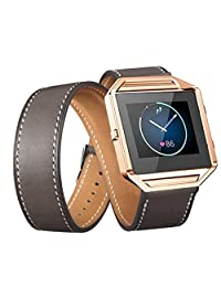 Welcomeuni Fashion 23MM Leather Double Ring Watchband Wrist strap For Fitbit Blaze Smart Watch (GY)