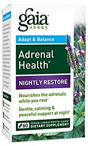 Gaia Herbs Adrenal Health Nightly Restore Supplement, 60 Count