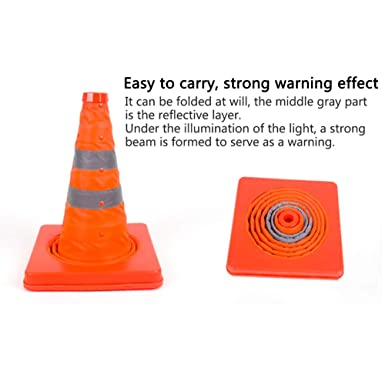 naranja Paquete de 4 conos de tr/áfico plegables de 18 pulgadas Cono de seguridad reflectante emergente multiprop/ósito 45 cm