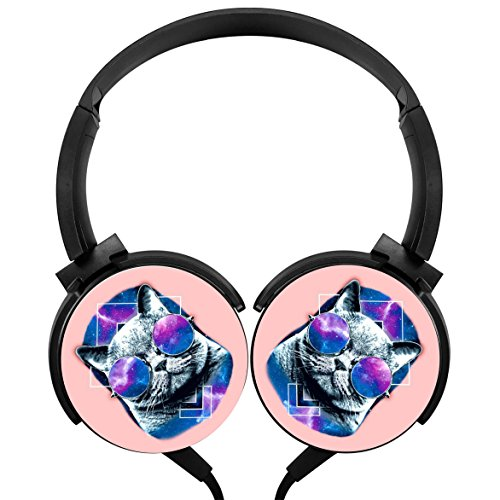 MagicQ Galactic Hipster Cat Stereo Deep Bass Wired Headphones - Fasion Hipster