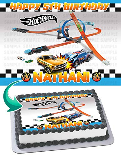 - HOT WHEELS Race Car Edible Cake Image Topper Personalized Birthday 1/4 Sheet Custom Sheet Party Birthday Sugar Frosting Transfer Fondant Image ~ Best Quality Edible Image for Cake