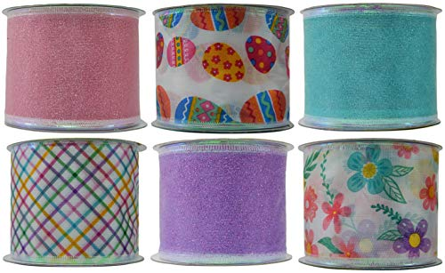 Economy Easter Wired Fabric Craft Ribbon Variety Pack Bundle 6-Roll Set 2.5 Inches by 3 Yards Each Solids and Patterns ()