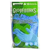 AMMEX - GWN10PK - Nitrile Gloves - Gloveworks - 10/pack, Disposable, Powder Free, Industrial, 4 mil, Uni-size, Blue