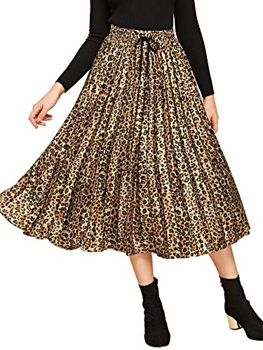 Verdusa Women's Drawstring Waist Leopard Print Midi Skirt Brown S