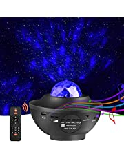 LED Projector Star Light Projector Night Light - with Bluetooth Music Speaker and Remote Control - Starry Ocean Wave Pattern Rotation Lamp for Kids Bedroom, Party, Home, Christmas