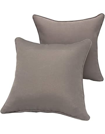 low priced 8ef1d 3d9ed Vanteriam 2 Pack Decorative Outdoor Solid Waterproof Throw Pillow Cover  with Piping, Accent Pillow case