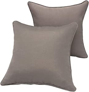 Vanteriam 2 Pack Decorative Outdoor Solid Waterproof Throw Pillow Cover with Piping, Accent Pillow case for Outdoor Patio Furniture Set, Square 18''x18'' Gray