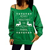 Yiluweinir Womens Thin Long sleeve Off-shoulder Ugly Christmas Sweater Girls Print Reindeer Xmas Pullovers Blouses