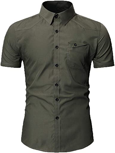 F/_Gotal Mens Summer Short Sleeve Fashion Military Pockets Button Shirts Casual Loose Tees Blouse Tops Shirt for Men
