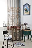 WPKIRA High-end Living Room Bedroom Luxury Soluble Embroidery Curtain Screens Embroidered Flower Voile Window Curtain Sheer Curtain Panels for Living Room,Grommet Top,1 Panel W75 x L96 inch