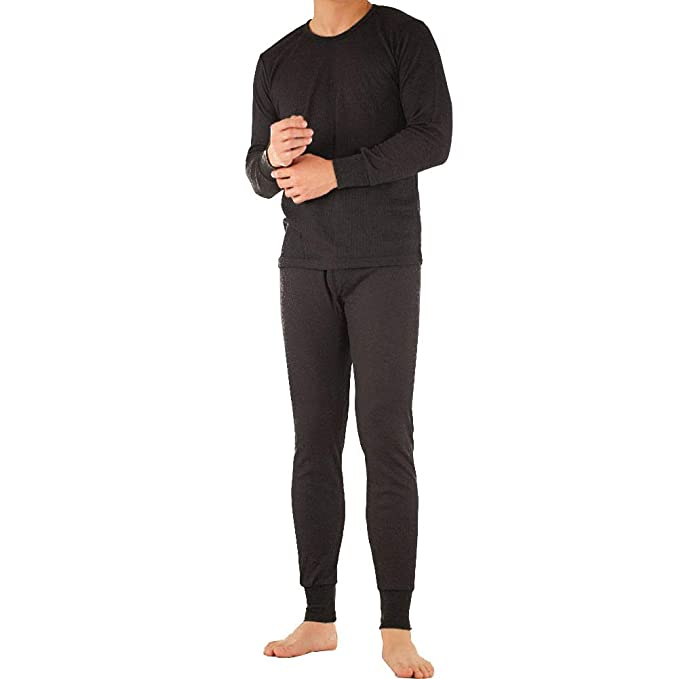 ae2970fe4132 SLM ThermaTek Men's 100% Cotton Thermal Long Johns Underwear Two Piece Set- Small-